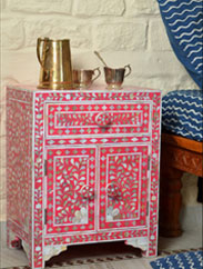 Indian Wooden Old Style Sideboard, Damachiya