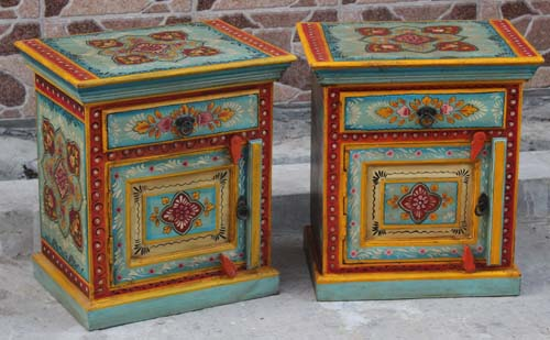 Indian Wood Furniture, Hand Painted Indian Bedside Cabinet