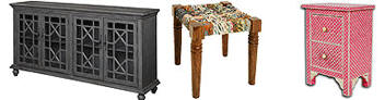 Bone Inlay Furniture - Mango Wood Furniture - Stool