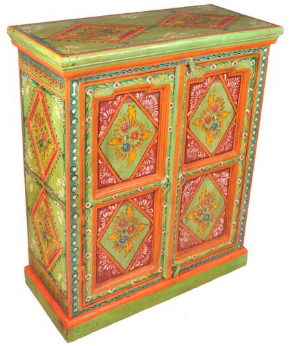 Painted Furniture Wooden, Hand Painted Cabinet Indian
