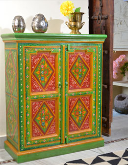 Hand Painted Floral Cabinet